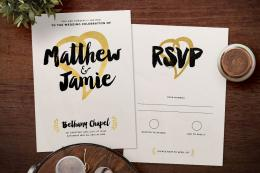 Modern Foil Wedding Invitation & Save the Date