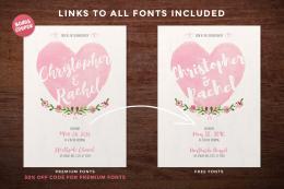 Watercolor Hearts Wedding Invitation & Save the Date