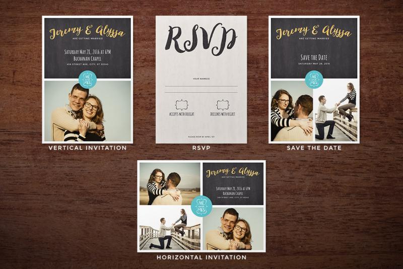 Customizable Wedding Invitation Templates: Photo Collage Wedding Invitation & Save The Date